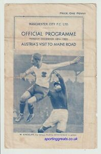 Manchester City V Austria Maine Road 1933 Extremely Rare Programme