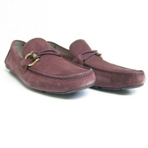 P-1292226 New Salvatore Ferragamo Front 4 Burgandy Red Suede Loafers Size US 11E