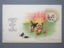 R&L Postcard: Misch & Stock, Edwardian, Series 53 Dogs & Mouse Mice, Good Wishes