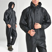 Men's Rain Coat Full Body Motorcycle Waterproof Raincoat Overalls Black Jacket