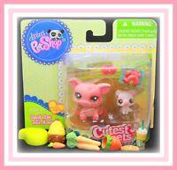 ❤️NEW Littlest Pet Shop LPS #2672 #2673 Cutest Pets Mommy & Baby Pigs NIB Set❤️