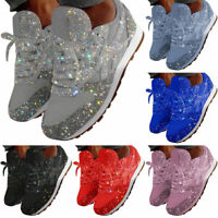 Women's Sequin Glitter Lace Up Fashion Shoes Comfort Athletic Sneakers Size 10