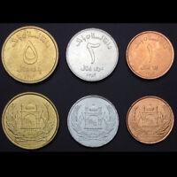 Afghanistan Set 3 Coins, 1+2+5 Afghanis, UNC