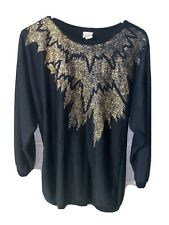Vintage Plumo Sz Medium Women's Black And Gold Acrylic Sweater