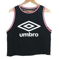 Umbro Cropped Logo Graphic Womens Tank Top Singlet Size US 10 GB 14 Black