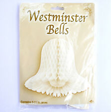 """Westminster Bells Paper Hanging Decoration Pkg 2 Honeycombe Party 11"""" Ivory New"""