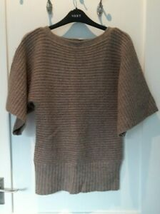 Lovey Taupe Natural Short Sleeve Knitted Jumper from M&S - Size 8 - Great!