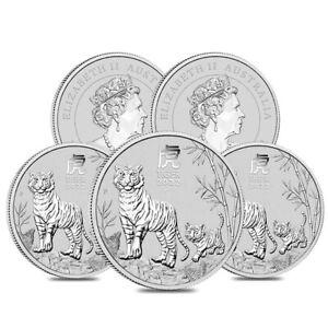 Lot of 5 - 2022 1 oz Silver Lunar Year of The Tiger BU Australian Perth Mint In