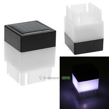 Solar Power Fence Post Pool Cap Outdoor Garden Yard LED Square White Light Lamp