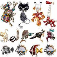 Women Ladies Crystal Pearl Animal Cat Fish Brooch Pin Women Rhinestone Jewelry