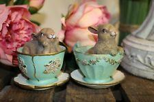 Clayre & Eef Decorazione Coniglio in Tazza Verde 8 7 cm poliresina 6pr1045