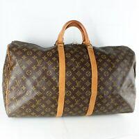 LOUIS VUITTON KEEPALL 55 Boston Travel Bag Purse Monogram M41424 Brown