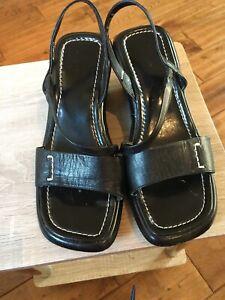 Ladies Black Clarks Wedge Sandals Size 5