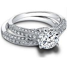White Gold Finish Bridal Ring 1.35 Ct Moissanite Diamond Wedding Band Size 5,104