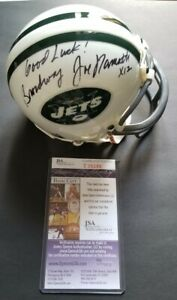 BROADWAY JOE NAMATH SIGNED NEW YORK NY JETS MINI HELMET AUTO JSA AUTHENTIC psa