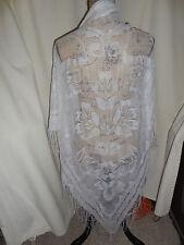 "Vintage Scarves/Wrap White Flower Design 58"" Long 50"" Down Center Euc"