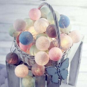 20 LED Cotton Ball Globe Garland String Fairy Lights Bedroom Wedding Party Decor