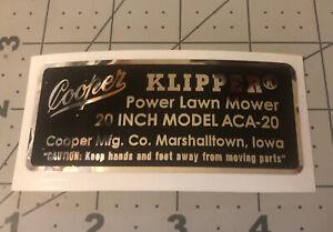 "Cooper Klipper Model number decal for 20"" ACA-20"