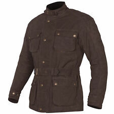 Tuzo Mens Traditional Motorcycle Biker Dry Wax Cotton Jacket Coat Brown Large