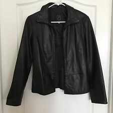 GPL BLACK LEATHER FRONT ZIPPER JACKET-MADE IN ITALY-size 40-US size 6