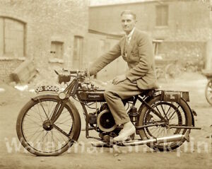 1919 era photo Glass Negative DOUGLAS MOTORCYCLE early cycle with all the EXTRAS