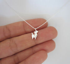"925 sterling silver small origami CAT necklace, 18"" chain"
