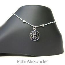 Box Chain Monogram Personalized Anklet 925 Sterling Silver Hearts on