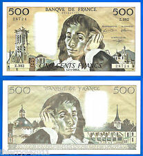 France 500 Francs 1992 2 January Serie Z  Pascal Europe Frcs Frc Free Ship Wld