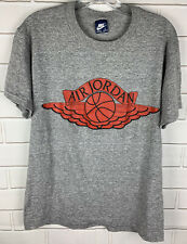 Vintage Nike Air Jordan Wings Logo Shirt Gray Size Large 1980's Excellent