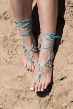 Beach Wedding Barefoot Sandals Crochet for Bride Blue Nautic Anchor Sea Shell