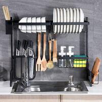 Stainless Steel Kitchen Shelf Plate Dish Rack Drying Drain Storage Towel Holder!