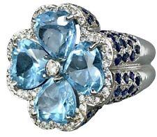 18K White Gold Diamond Blue Sapphire Heart Topaz Jumbo Clover Flower Ring