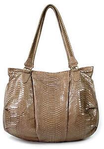 FISH IN THE SEA Cosmo Bag Python nude pearl Schlangenleder Damen Shopper XL NEU