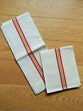 Antique 2 French tea Towels Linen Metis Vintage Red green stripe Country kitchen