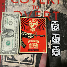 """SHEPARD FAIREY Obey Giant Sticker 4 X 5.5"""" God Saves Satan Invests poster print"""