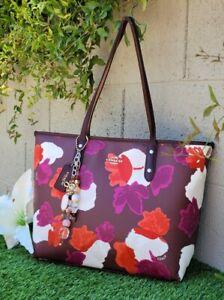 Coach 38396 FIELD FLORAL city Zip top Tote shopper handbag purse shoulder bag