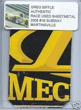 GREG BIFFLE 2005 SUBWAY MARTINSVILLE AUTHENTIC NASCAR RACE USED SHEETMETAL #2