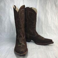 Used Dark Chocolate Brown Vegan Suede Mid Calf Snip Toe Pull On Women Boots Sz 9