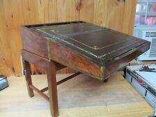 Antique Wood Brass Leather Folding Drop Slant Front Writing Desk (Semi Portable)
