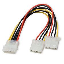 "8"" 4 Pin Molex Male to 2x 4-Pin Molex IDE Female Power Y Splitter Adapter Cable"