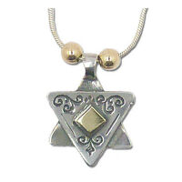 Jewish Gift, Star of David Necklace,925 Sterling Silver &14K Gold, Lior Jewelry