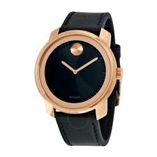Men's Movado 3600376 Bold Black Dial Rose Gold Case Black Leather Watch
