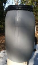 PLASTIC BARREL 55 GALLON - LITE GREY-FOOD  GRADE-Snap on Lid with Nylon Clamp