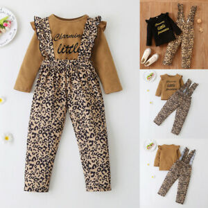2Pcs Kids Girls Ruffle Long Sleeve Tops+Leopard Dungarees Jumpsuit Sets Outfits