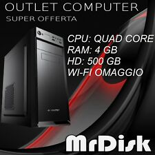 PC DESKTOP QUAD CORE ASSEMBLATO RAM 4GB HD 500 GB COMPUTER WI-FI WINDOWS 10 PRO