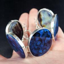 Large BLUE PAUA ABALONE SHELL & 925 Sterling Silver Bracelet Jewelry, Modern