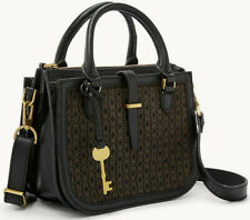 NWT Fossil Ryder Black Leather / Brown Fabric Mini Satchel X-body ZB7721015 $178