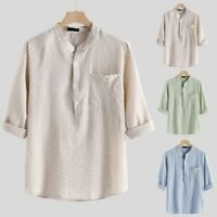 Men Striped Cotton Linen Short Sleeve Button T Shirt Blouse Fit Slim Summer Tops