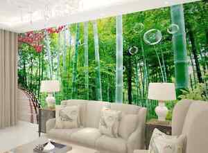 Huge 3D Bamboo Forest Green Wall Paper Wall Print Decal Wall Deco Indoor wall