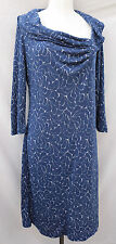 ROYAL ROBBINS large Blue & Gray FLORAL Cowl neck wool blend 3/4-sleeved DRESS